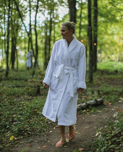 Influencer and interior stylist Andrea Brodin making her way to the popular sauna at Livingston Manor Fly Fishing Club.