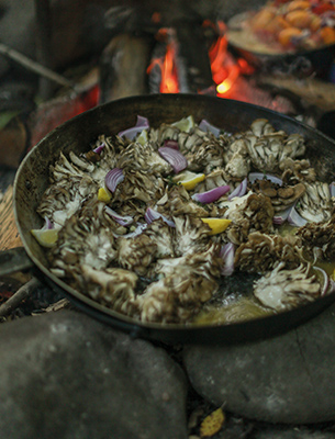 Maitakes cooked over an open fire were served with fire-roasted corn.