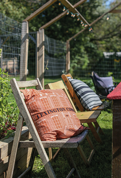 Lawn furniture were spruced up with different shams from our fall collection.