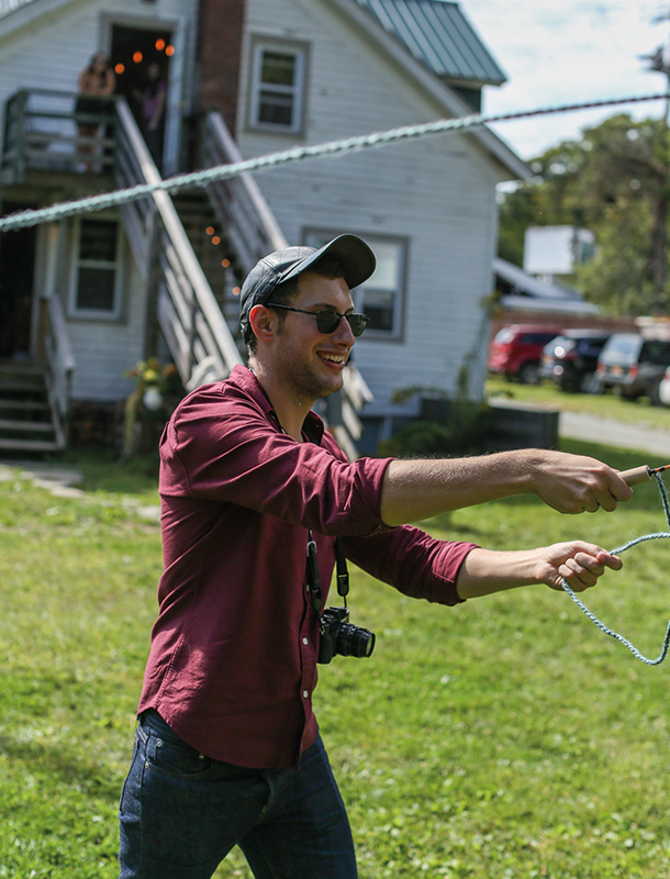 Influencer Caleb Thill worked on his technique during our NYFW Decompress event before we went out fly fishing.