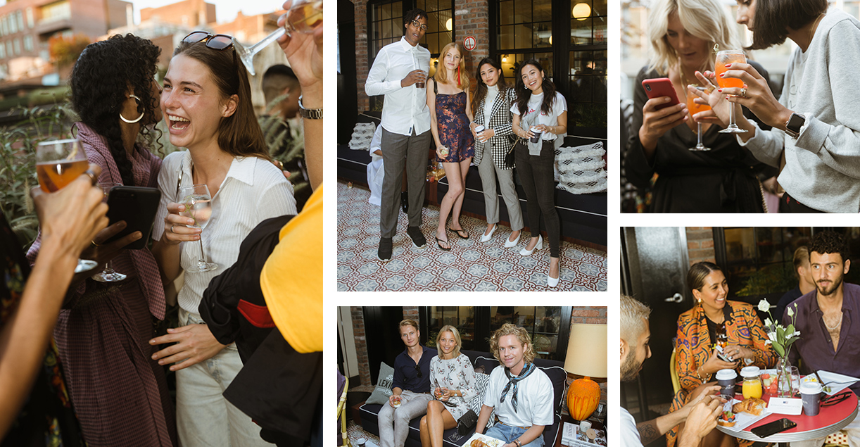 Left: American chef and influencer Sophia Roe whispers something funny into Danish stylist and influencer Sophia Roe. <br /> Top center: Entrepreneur Issa Mase, blogger Lisa Banholzer from Blogger Bazaar, Candid That co-founders Tsutsumi Hoang and Alexandra Hoang.<br /> Bottom center: Founder of MONJOI Isolina Fedel with boyfriend Johan and Mads Vanggaard from Dossier.<br /> Top right: Musician Tezza and influencer and founder of bybabba Babba Rivera formerly Canales. <br /> Bottom right: Rami Hanna, stylist Hanna MW with boyfriend Jimmy Loutfi.