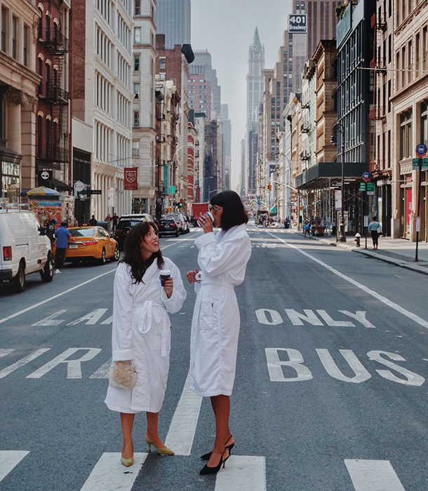 The robes were so comfortable that Babba and her influencer friend Sania Claus Demina decided to take a stroll down the street in them.