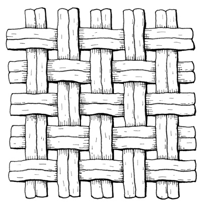 An illustration of an oxford weave.