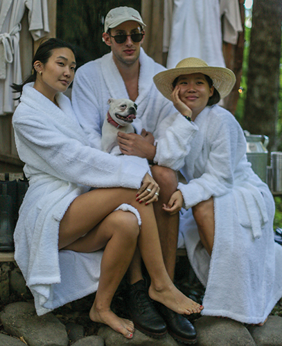 Do like our guests, Laura Jung, Caleb Thill and Sophia Li at our NYFW Decompress event and hop in the sauna together.