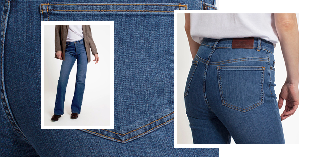 The Shelley jeans are bootcut high-waisted denim pants that flare at the bottom. This style is flattering on curvy and tall women because it balances out the body. The pants are equally flattering on shorter women when worn with high-heeled shoes.