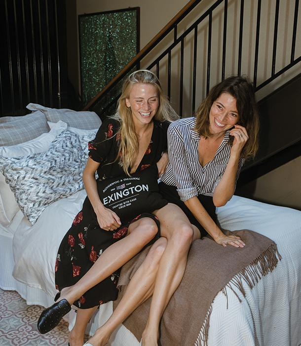 Model Silja Danielsen and Anastasia Klaffert hanging out at the atrium.