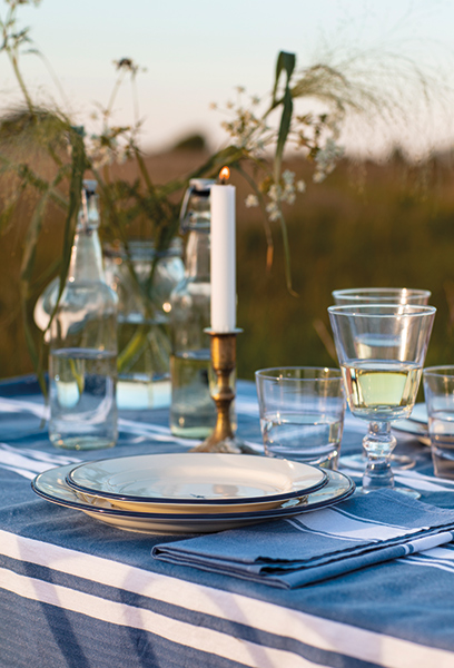 The tablecloth and napkins gives this wedding in the wild a more polished look.