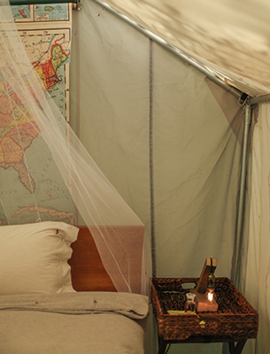The tents was given a Lexington treatment and turned into the ultimate glamping area.