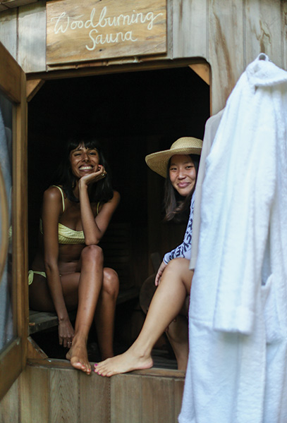 Our friends were all smiles in the wood-burning sauna. Click on the picture for our sauna guide.