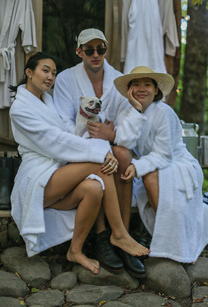 Our guests, Laura Jung, Caleb Thill and Sophia Li spent some quality time in the sauna.