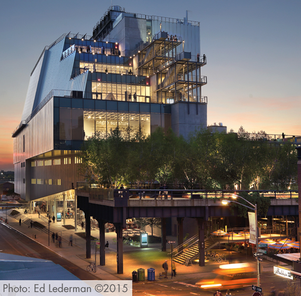 The museum hosts the Whitney Biennial, an art show where artists new to the American art scene are displayed.