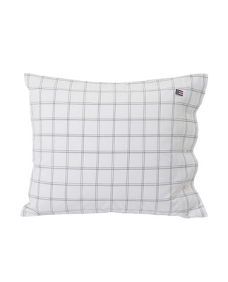 Checked Oxford Pillowcase, White/Gray