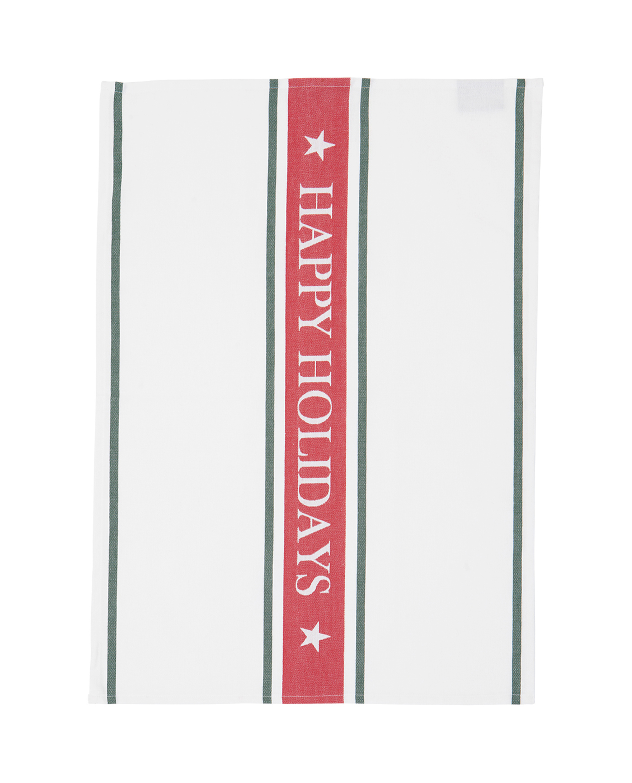 Happy Holiday Kitchen Towel, White