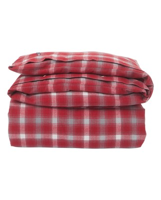 Checked Flannel Duvet, Red/Gray