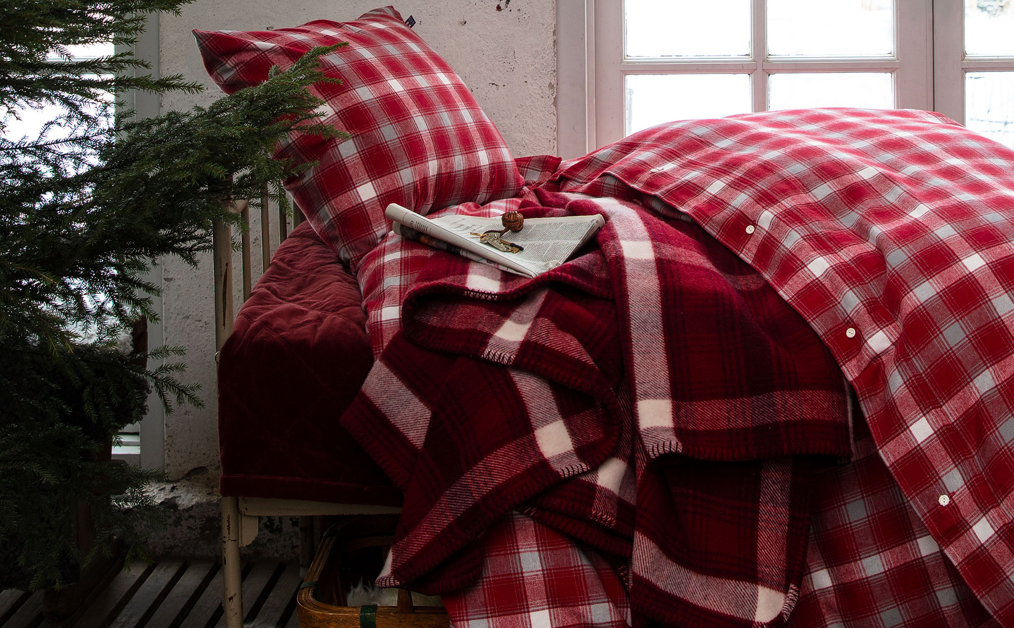Checked Blanket, Red Multi