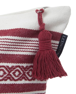 Jacquard Striped Sham, White/Red