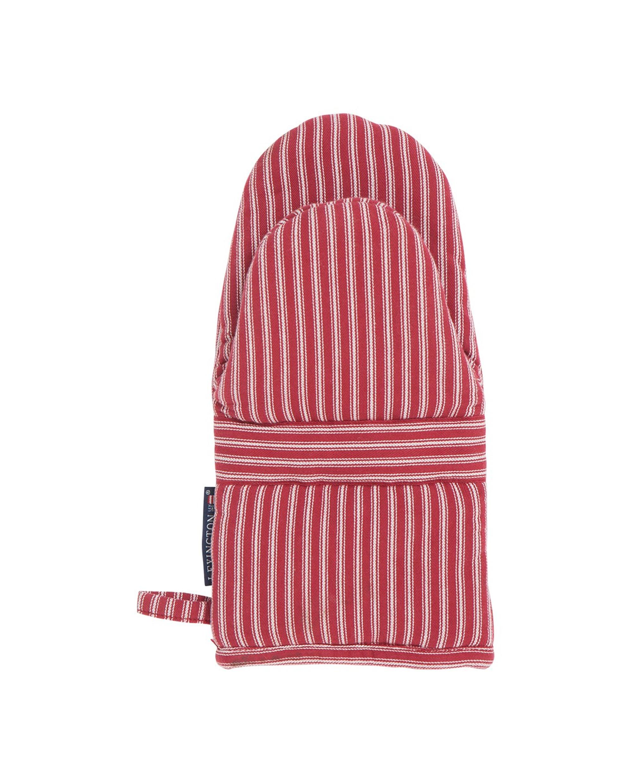 Striped Mitten, White/Red