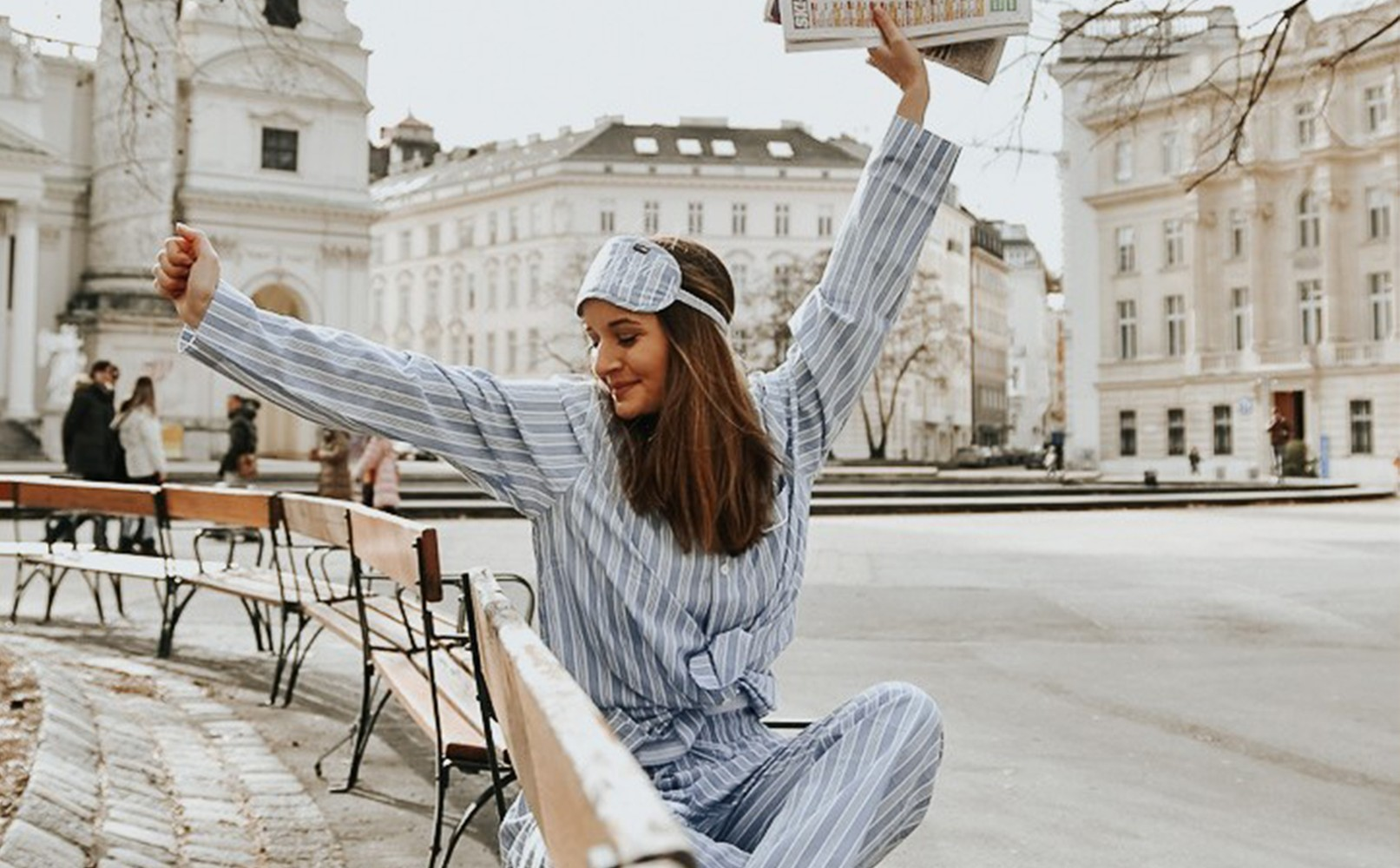07bd3e04161 Limited-edition Unisex Sleepy Striped Pajama + Sleep Mask
