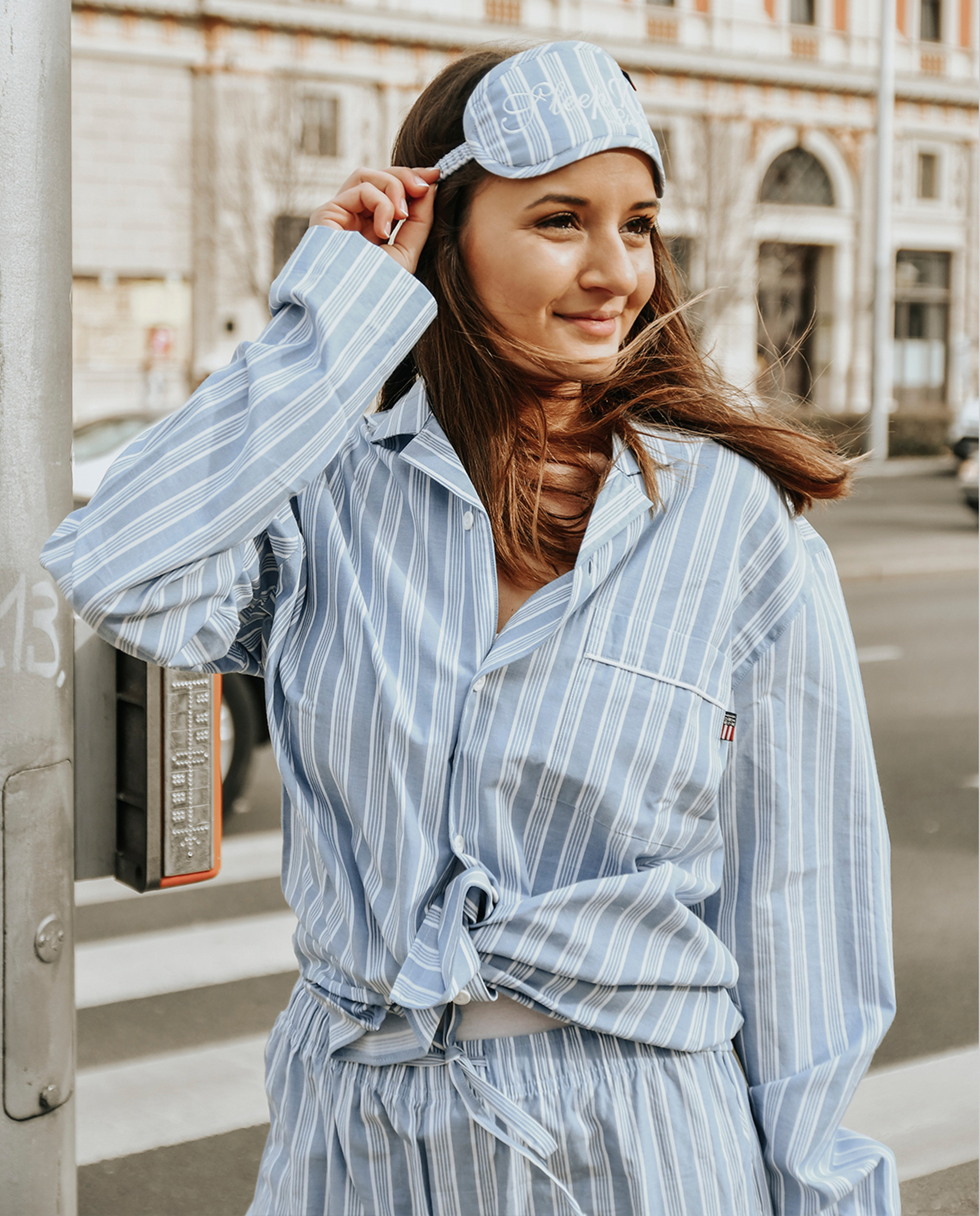 Limited-edition Unisex Sleepy Striped Pajama + Sleep Mask