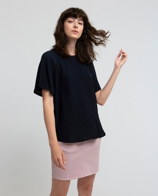 Ellis Viscose Top, Navy Blue