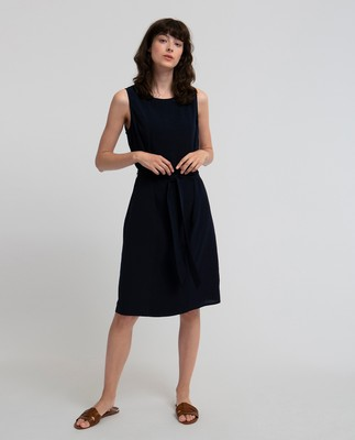 Katie Plisse Dress, Navy Blue