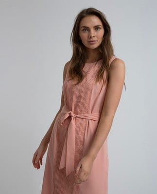 Katie Plisse Dress, Mellow Rose