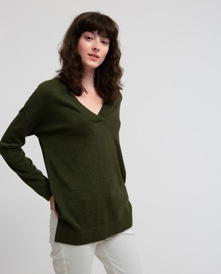 Ana Cotton Bamboo V-neck Sweater, Burnt Olive