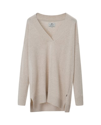 Ana Cotton Bamboo V-neck Sweater, Snow White
