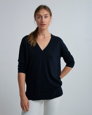 Ana Cotton Bamboo V-neck Sweater, Deepest Blue