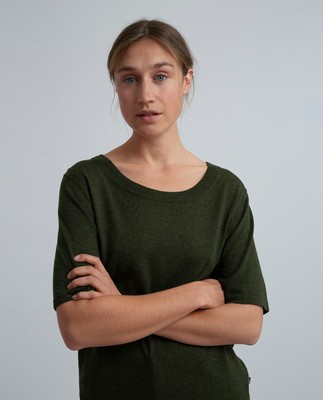 Amber Cotton Bamboo Tee, Burnt Olive