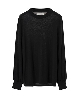 Sadie Cotton Bamboo Sweater, Caviar Black