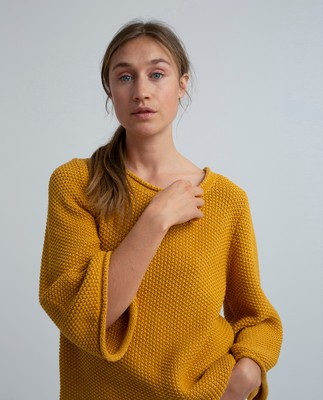 Kayla Cotton Linen Sweater, Mineral Yellow