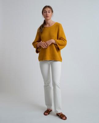 Kayla Cotton Linen Sweater, Mineral Yellow