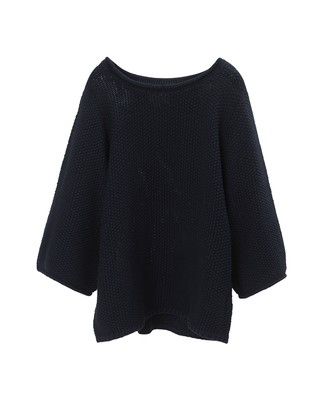 Kayla Cotton Linen Sweater, Navy Blue