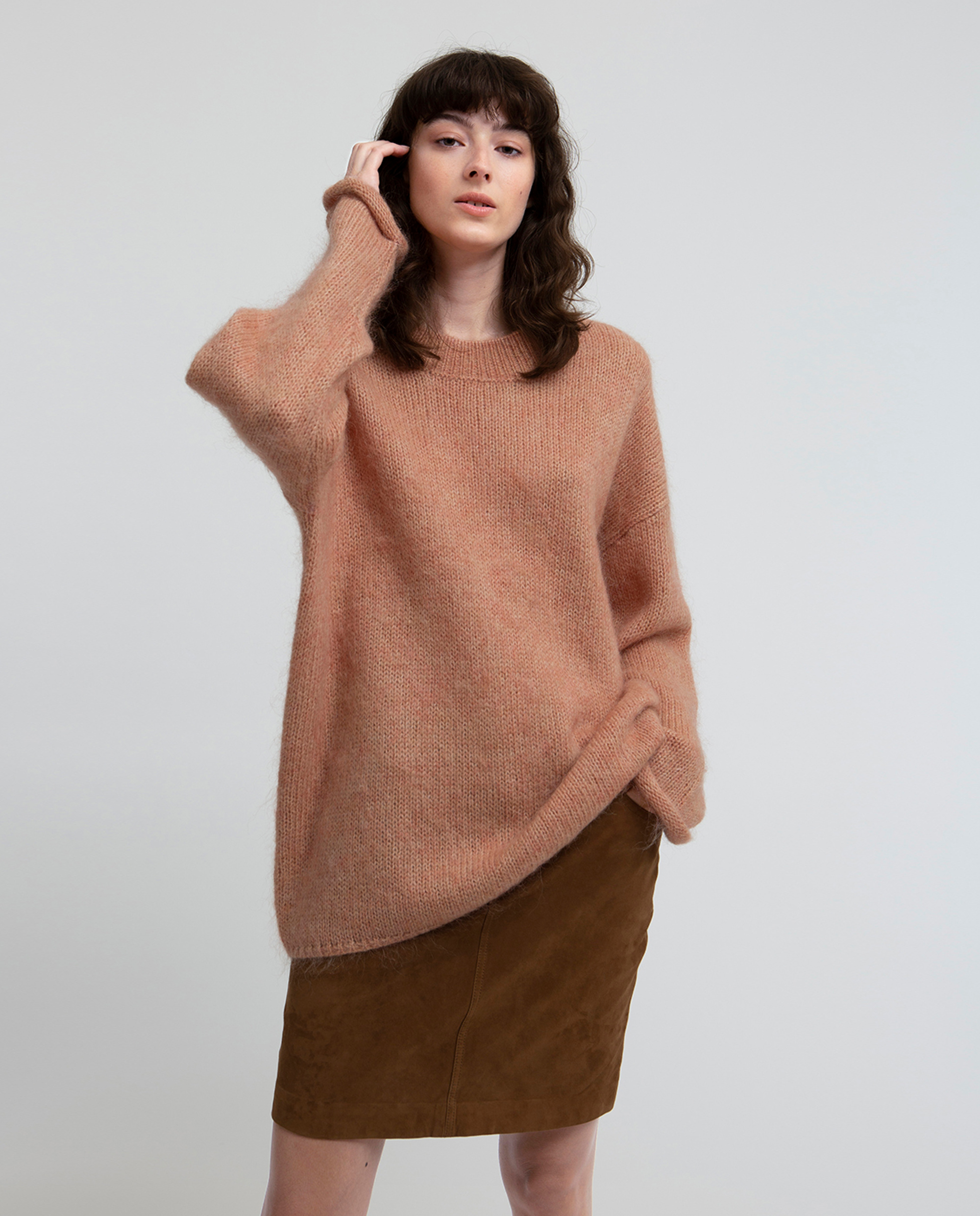 Willa Mohair Sweater, Mellow Rose