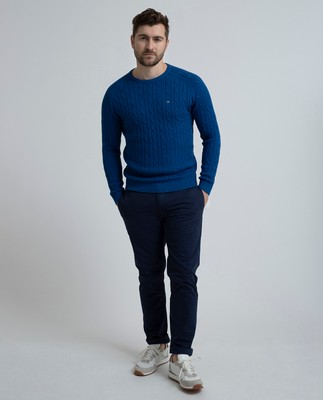 Andrew Cotton Cable Sweater, True Blue