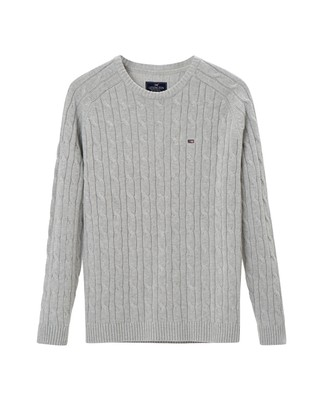 Andrew Cotton Cable Sweater, Lt Warm Gray Melange