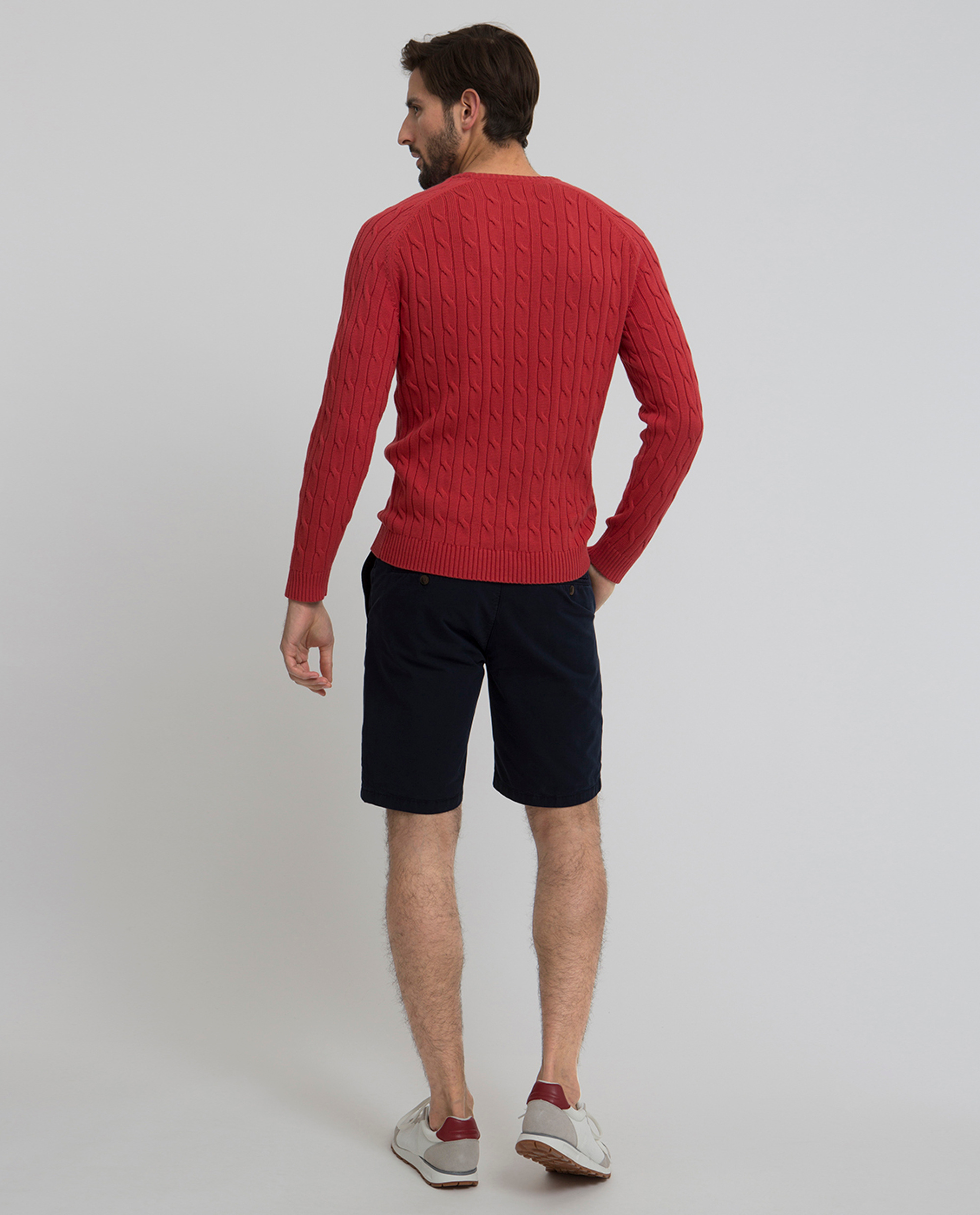 Andrew Cotton Cable Sweater, Vintage Red
