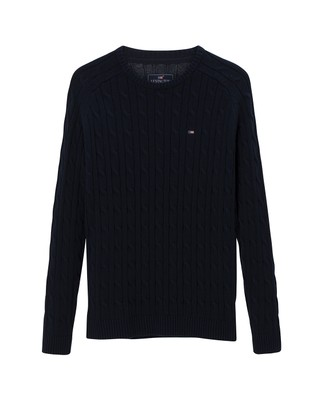Andrew Cotton Cable Sweater, Navy Blue