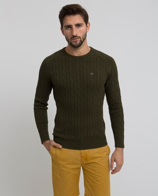 Andrew Cotton Cable Sweater, Olive Night
