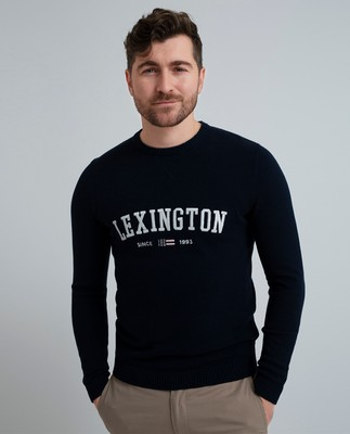 Nelson Knitted Sweatshirt, Navy Blue