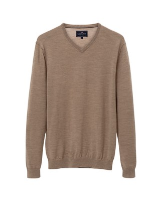 Ian Merino V-Neck Sweater, Warm Sand