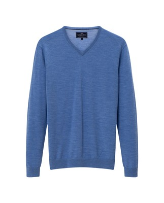 Ian Merino V-Neck Sweater, Light Blue