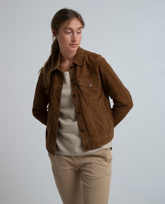 Marcie Suede Jacket, Hazelnut Brown