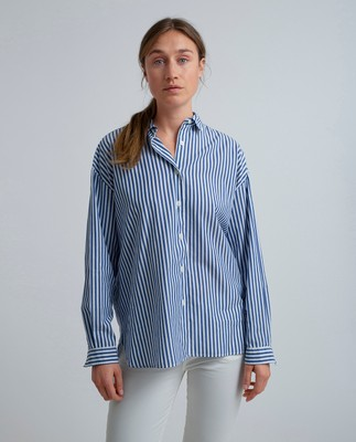 Edith Poplin Shirt, Medium Blue/White