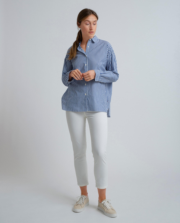 Edith Poplin Shirt, Medium Blue/White