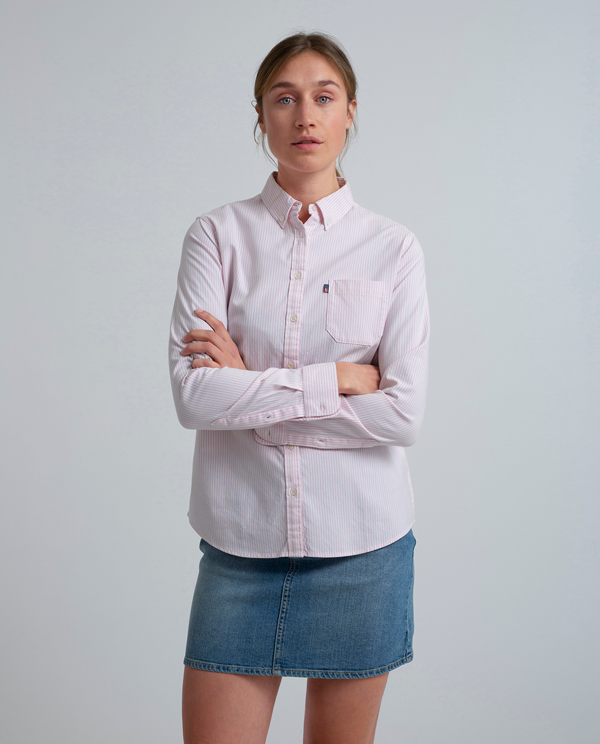 Sarah Oxford Shirt, Pink/White