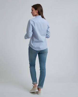 Emily Poplin Shirt, Blue/White