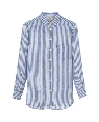 Isa Linen Shirt, Medium Blue/White