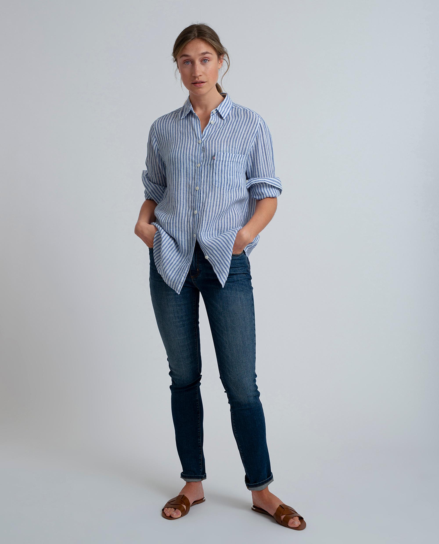 Isa Linen Shirt, Medium Blue/White